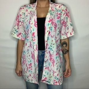 Tops - Vintage 80s-90s Blouse with attached shoulder pads